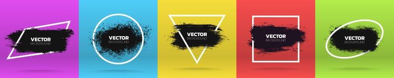 Fondos del Grunge fijados Cepille el movimiento negro de la tinta de la pintura sobre diverso marco Ilustración del vector stock de ilustración