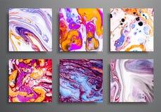Fondos dinámicos carteles de moda, cubiertas del anuncio publicitario fijadas Efecto colorido de mármol Plantilla abstracta del c ilustración del vector