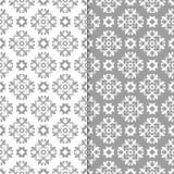 Fondos florales blancos y grises Conjunto de modelos inconsútiles Imagen de archivo