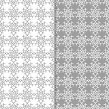 Fondos florales blancos y grises Conjunto de modelos inconsútiles Foto de archivo