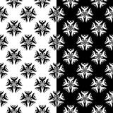 Fondos florales blancos y negros Sistema de modelos inconsútiles monocromáticos Fotografía de archivo libre de regalías