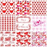 Fondos inconsútiles del día de tarjeta del día de San Valentín. Vector Imagenes de archivo