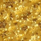 Fondos inconsútiles del modelo de oro con los copos de nieve del oro ilustración del vector