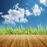 Fondos naturales abstractos con la O.N.U del escritorio de madera y de la hierba verde Fotografía de archivo