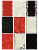 Fondos negros, blancos, rojos de tarjeta de comercio del artista Foto de archivo libre de regalías