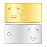 Fondos o escrituras de la etiqueta con la cara de la muchacha Fotografía de archivo libre de regalías