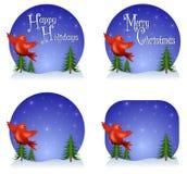 Fondos rojos de la Navidad del pájaro Imagenes de archivo