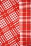 Fondos rojos y blancos del dishtowel Imagen de archivo libre de regalías