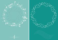 Fondos verdes de la música del vector con las notas decorativas blancas de la música Imagen de archivo libre de regalías
