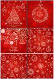 Fondos y tarjetas de felicitación rojos por vacaciones de invierno Imagenes de archivo
