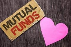 Fonds communs de placement mutualistes des textes d'écriture Stratégie de placement de signification de concept pour acheter des  Image stock