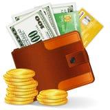Fonds mit Dollar, Kreditkarten und Münzen stock abbildung