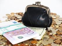 Fonds mit Münzen und Dollar lizenzfreies stockfoto