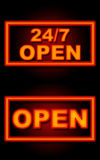 24 fonds 7 noirs au néon ouverts Photos libres de droits