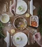 Fondue του γαλλικού γεύματος σολομών Στοκ Εικόνες