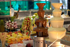 'fondue' de chocolate Fotografía de archivo