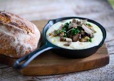 Fondue de purée de pommes de terre et de fromage avec la truffe noire et les champignons sauvages image libre de droits