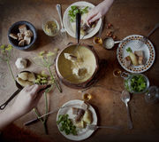 'fondue' de queso francesa Fotos de archivo