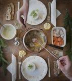 Fondue der französischen Lachsmahlzeit Stockfoto