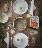 Fondue of salmon french meal Royalty Free Stock Photos