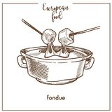 Fondue sketch icon for European Swiss food cuisine menu design. Fondue sketch icon for European food cuisine menu design. Vector retro sketch of Swiss Royalty Free Stock Images