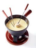 Fondue traditionnelle de fromage suisse et de vin Image libre de droits
