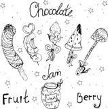 fonduta frutti congelati, fragole, lamponi, ananas, banana, watermelo illustrazione di stock