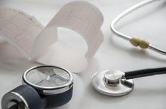 Fonendoskop, kardiogram Zdjęcie Stock