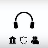 Fones de ouvido ícone, ilustração do vetor Estilo liso do projeto Imagens de Stock Royalty Free