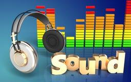 fones de ouvido audio do espectro 3d Fotografia de Stock Royalty Free