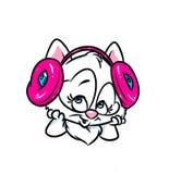 Fones de ouvido bonitos da música dos amores do gato bonito Fotografia de Stock