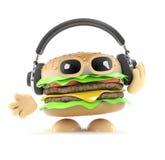 fones de ouvido do hamburguer 3d Imagem de Stock Royalty Free
