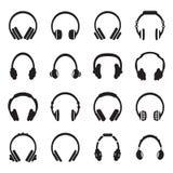 Fones de ouvido do vetor ajustados Foto de Stock Royalty Free
