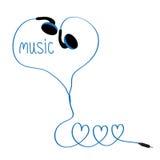 Fones de ouvido e cabo azul em uma forma de três corações MÚSICA da palavra Fundo branco Isolado Projeto liso Imagem de Stock