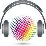 Fones de ouvido e equalizador, logotipo da tecnologia, música e logotipo sadio ilustração do vetor