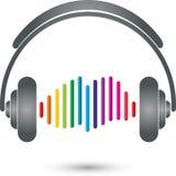Fones de ouvido e logotipo do equalizador, da música e do entretenimento ilustração stock