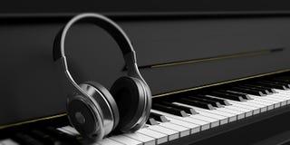 Fones de ouvido em um piano preto ilustração 3D Fotos de Stock Royalty Free