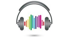 Fones de ouvido, equalizador, música, som, vídeo ilustração royalty free