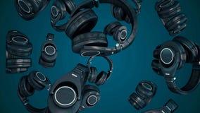 fones de ouvido de giro da ilustração 3D Gray Headphones isolou-se no fundo da cor Fones de ouvido de queda Imagens de Stock Royalty Free