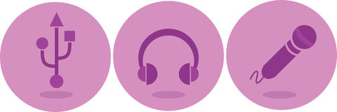Fones de ouvido, microfone e ícones de USB Fotos de Stock Royalty Free