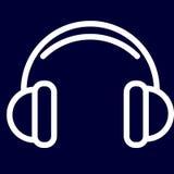 Fones de ouvido ou ícone da música de esboços do branco do grupo Fotografia de Stock Royalty Free