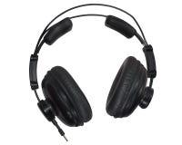 Fones de ouvido pretos do estúdio isolados no fundo do whiute Foto de Stock