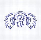 Fones de ouvido que simula o som alto Fotografia de Stock