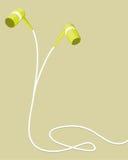 Fones de ouvido verdes com uma torção do cabo Imagem de Stock Royalty Free