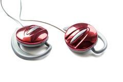 Fones de ouvido vermelhos Fotografia de Stock
