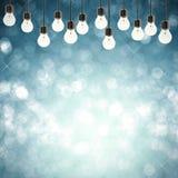 Fonkel lichten op lege blauwe abstracte achtergrond Stock Afbeelding