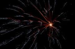 Fonkelend die vuurwerk op nacht van een park en bomen wordt gezien silhouett Stock Foto