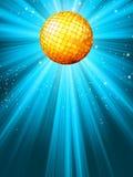 Fonkelende blauwe discobal. EPS 8 Stock Foto
