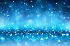 Fonkelende blauwe Kerstmisachtergrond, Royalty-vrije Stock Foto's