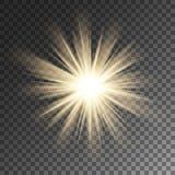 Fonkelende de stergloed van zonstralen Fonkeling op vectorachtergrond Royalty-vrije Stock Foto's